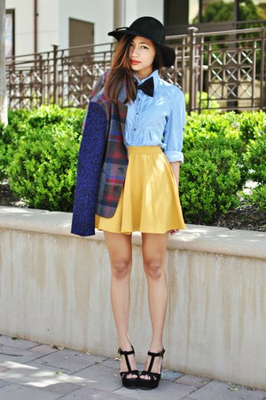 mustard cotton on skirt - navy Choies blazer - black sandal heels Aldo wedges