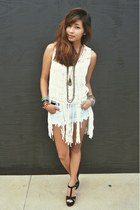 Macrame Top with Fringe top - Frayed Denim Shorts shorts - Aldo wedges