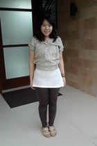 brown from local department store leggings - white Zara top - beige strawberry j