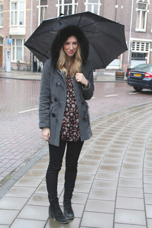 black JBrand jeans - charcoal gray unknown jacket - ruby red free people blouse