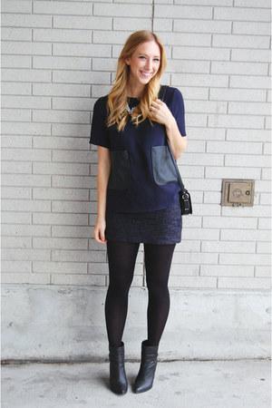 black Rebecca Minkoff purse - navy Zara skirt - black Kelsi Dagger heels