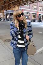 navy Zara jacket - navy Rich and Skinny Jeans jeans - black Zara sweater