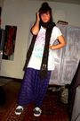 Purple-pants-white-h-m-top-green-h-m-scarf-black-vans-shoes