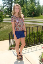 Urban Outfitters shirt - Forever 21 shorts - Forever 21 wedges - brown watch