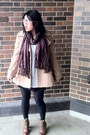 Camel-forever-21-coat-brown-boots-ivory-h-m-top