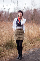 olive green Urban Outfitters skirt - black Dolce Vita for Target boots - white O