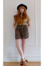 Brown-vintage-blouse-brown-vintage-shorts-brown-vintage-shoes
