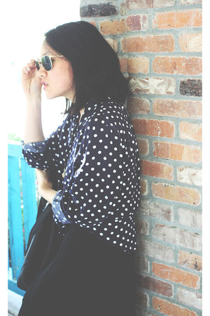 vintage blouse - banana republic dress - Ray bans sunglasses