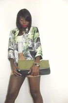 floral print Sirens blazer - two tone H&M purse - wool Joe Fresh shorts