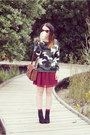 Black-glassons-boots-camoflague-romwe-sweater-maroon-supre-skirt