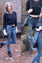 black Topshop boots - H&M jeans - black Mango bag - black Zara jumper