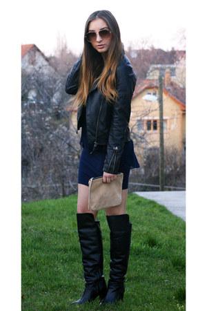 Zara boots - Zara dress - Mango jacket - H&M bag - Mango sunglasses