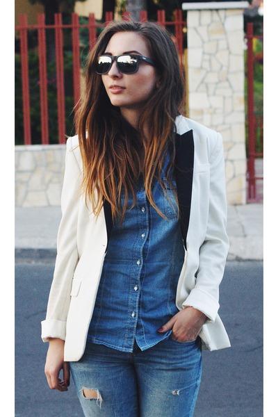 H&M blazer - Zara jeans - ray-ban sunglasses - Zara heels