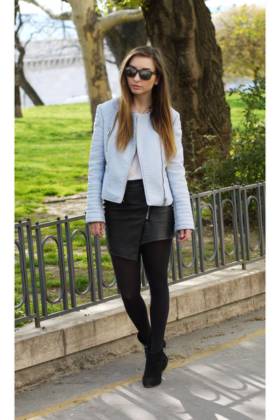 Zara jacket - ray-ban sunglasses - Choies skirt