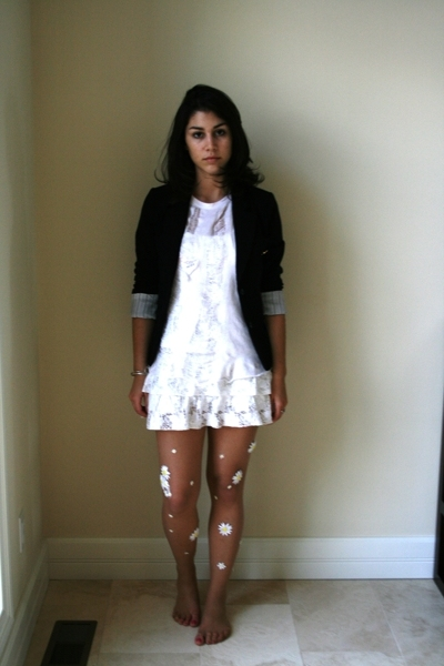 random boutique dress - Hanes t-shirt - Forever21 blazer - DIY tights