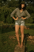 forever 21 shirt - Levi shorts - Forever21 shoes - vintage hat