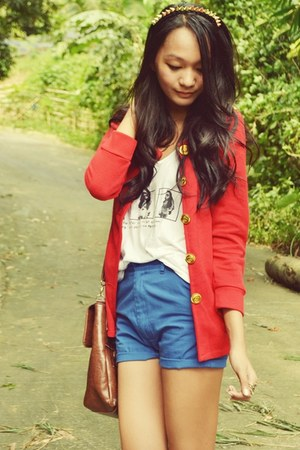 top - blue shorts - red cardigan - spiky headband accessories