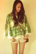 satchel bag - frayed shorts - aztec cape