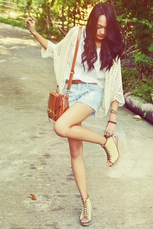 messenger bag - shorts - top - lace-up wedges - crocheted cardigan