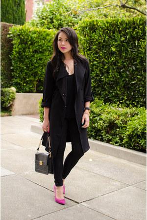trench coat H&M jacket - pumps Steve Madden heels - oversized tj Designs watch