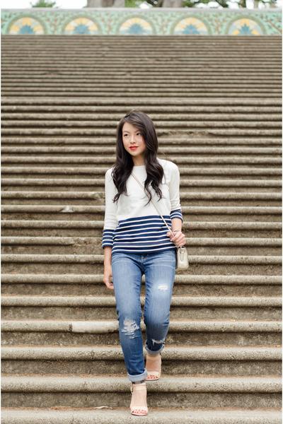 metallic Forever 21 heels - distressed Gap jeans - stripe JCrew sweatshirt