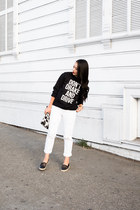 graphic supermuse sweatshirt - boyfriend Gap jeans - mesh sam edelman sneakers
