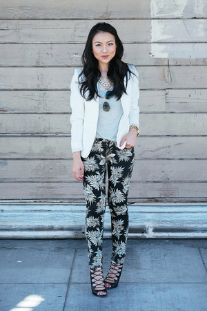 printed cotton on jeans - textured H&M blazer - lace up Zara heels