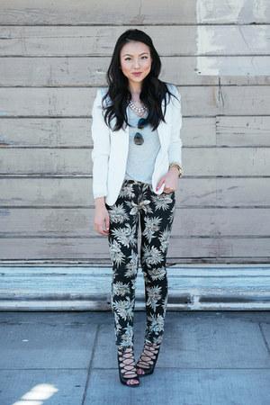 printed cotton on jeans - textured H&M blazer - lace up Zara heels