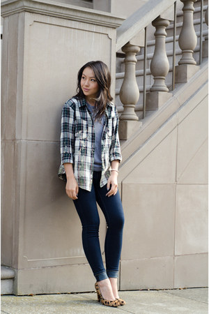 skinny jeans Henry & Belle jeans - plaid JCPenney shirt - leopard madewell heels