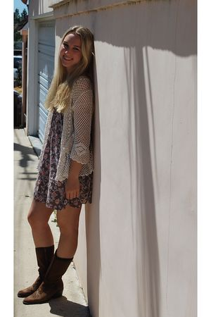 white sweater - brown Target dress - brown Dr Scholls boots