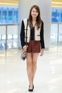 Black-and-white-mango-jacket-sling-burberry-bag