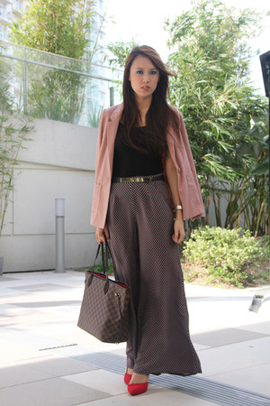 rose H&M blazer - neverfull Louis Vuitton bag - wide leg Dorothy Perkins pants