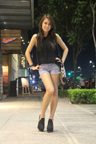black Burberry bag - denim Forever 21 shorts - black Gold Dot heels