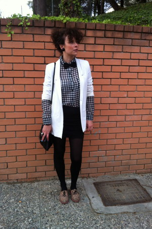 white Zara jacket - animal print Bershka shoes