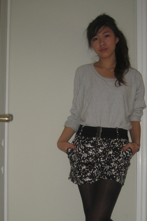 black Target stockings - silver Urban Outfitters sweater - gray Forever 21 skirt