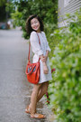 white Dolce Vita dress - red Marc Jacobs bag - tan Zara sandals