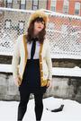 Yellow-vintage-hat-red-vintage-coat-silver-brooklyn-industries-blouse-blue