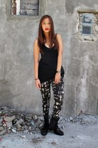 black Peace Love Fashion leggings - black Topshop top