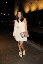 light pink Topshop dress - ivory from bangkok skirt - tan DAS wedges