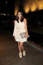 light pink Topshop dress - ivory from bangkok skirt - tan DAS wedges