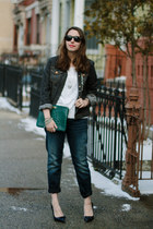 forest green clutch brahmin bag - navy boyfriend Silver Jeans Co jeans