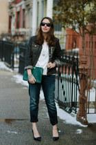 forest green clutch brahmin bag - navy boyfriend Silver Jeans Co jeans