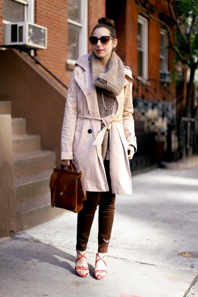 brown knit SHUI CHEN NEW YORK scarf - beige trench Gap coat