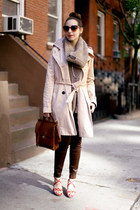 brown knit SHUI CHEN NEW YORK scarf - beige trench Gap coat