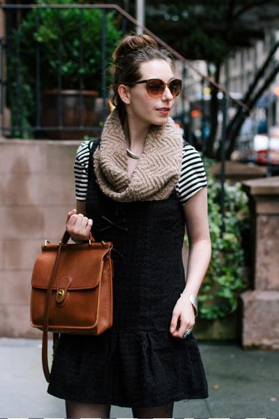 black dropwaist free people dress - brown knit SHUI CHEN NEW YORK scarf