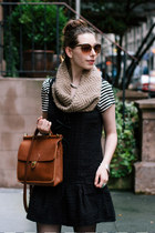 black dropwaist free people dress - brown knit SHUI CHEN NEW YORK scarf