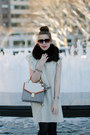 Beige-polka-dot-zara-dress-off-white-brahmin-bag