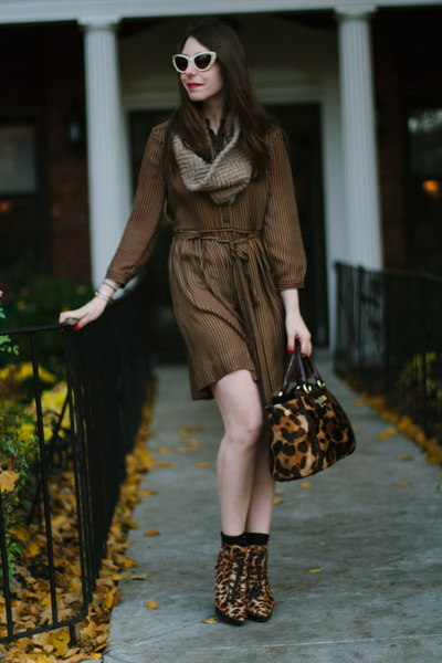 brown animal print Steve Madden boots - brown printed Kelly Wearstler dress