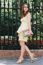periwinkle Rebecca Minkoff bag - light yellow lace peplum H&M dress