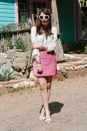 pink suede vintage Miu Miu skirt - white Zara heels